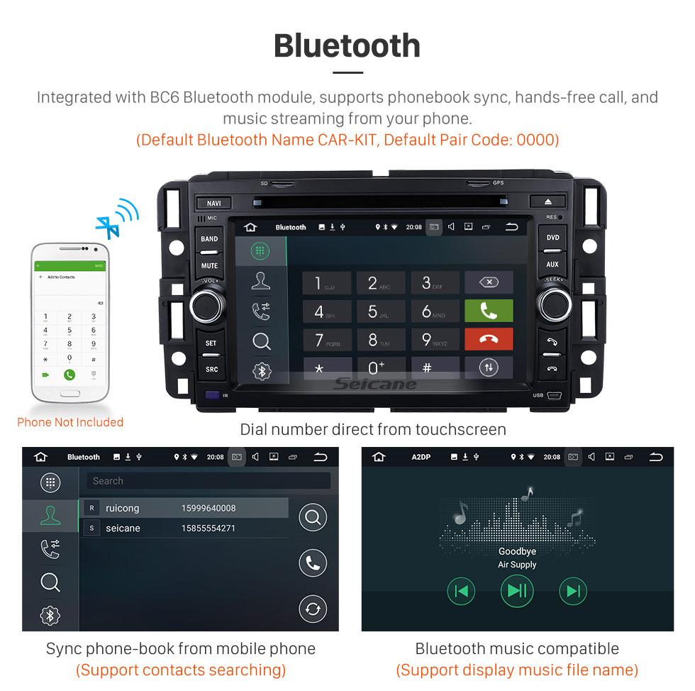 Seicane Radio Bluetooth Android 9.0 Sistema de navegación GPS 2007-2011 GMC Acadia con reproductor de DVD Pantalla táctil DVR WIFI TV Control del volante