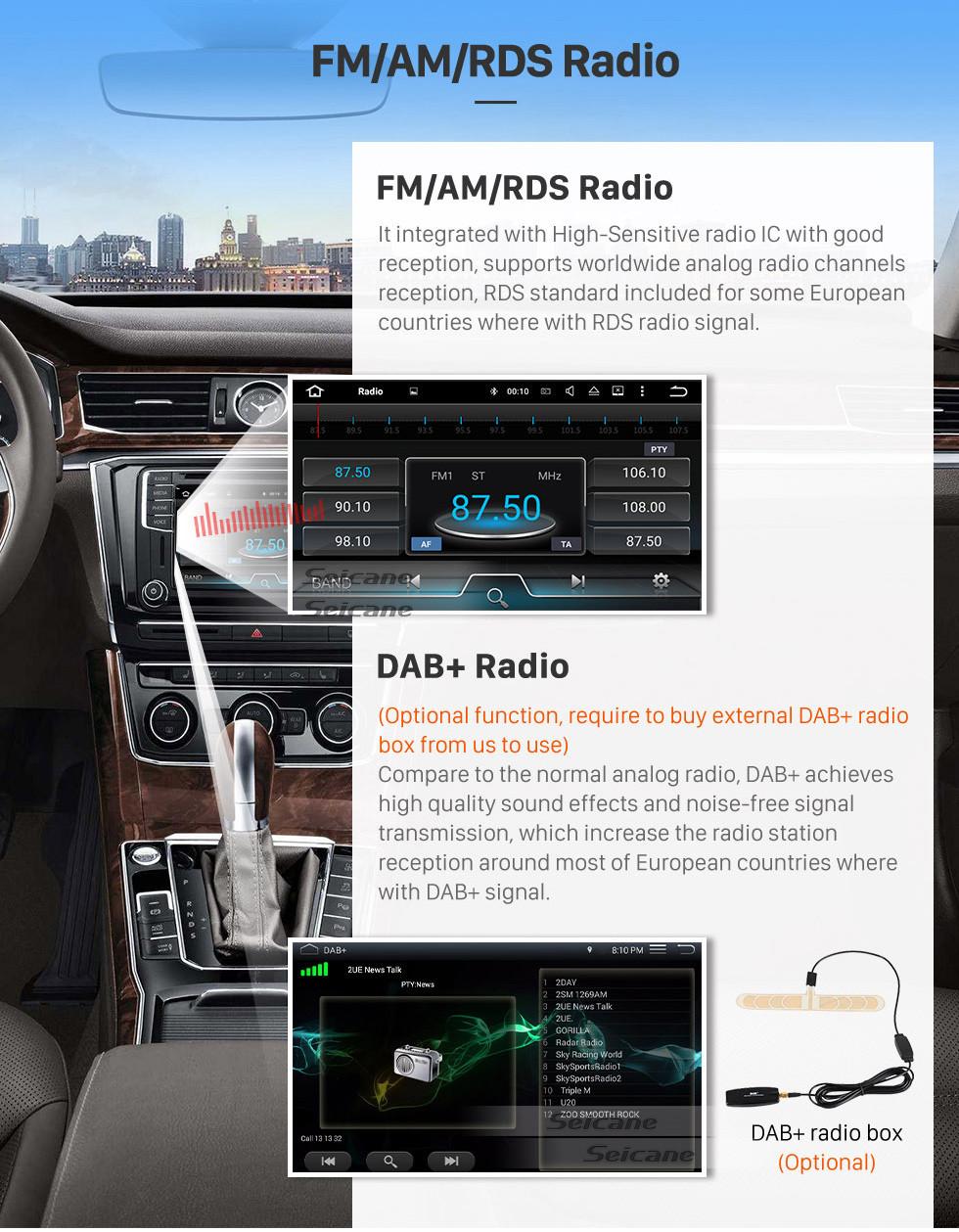 Seicane Bluetooth-радио Android 9.0 GPS навигационная система 2007-2011 GMC Acadia с DVD-плеером с сенсорным экраном DVR WIFI TV Управление рулевого колеса