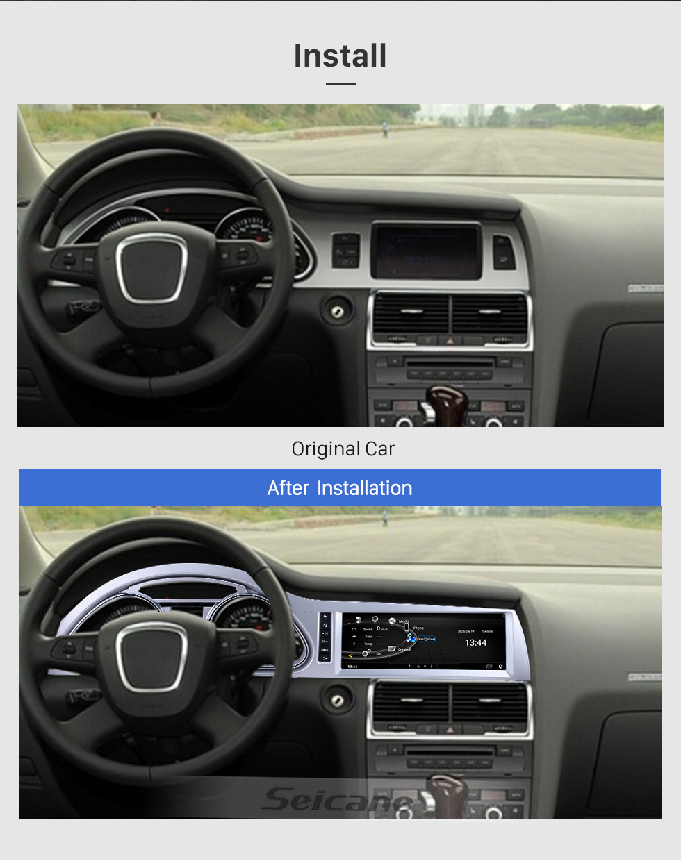 Seicane 10.25 inch for 2010 2011 2012 2013 2014 2015 Audi Q7 Radio Bluetooth Android 9.0 HD Touchscreen GPS Navigation support Carplay DAB+ DVR