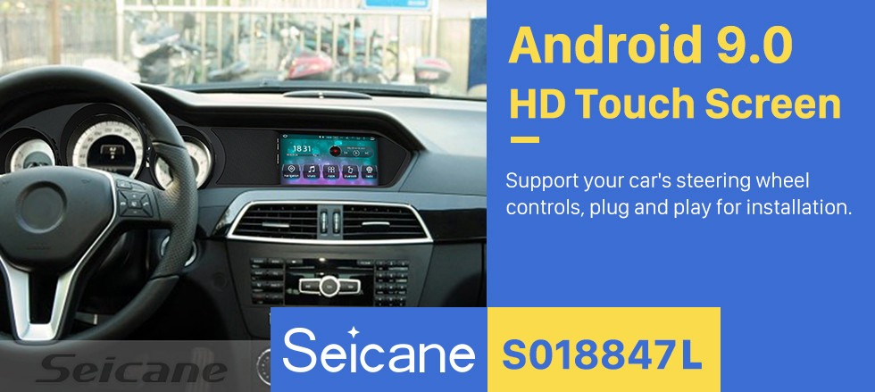 Seicane 7 Inch Android 9.0 Car Multimedia Player for 2012 2013 Mercedes-Benz C Class W204 C180k C200 HD Touchscreen Radio GPS Navigation Upgrade Unit Steering Wheel Control Bluetooth Music Wifi USB FM/AM/RDS support Carplay