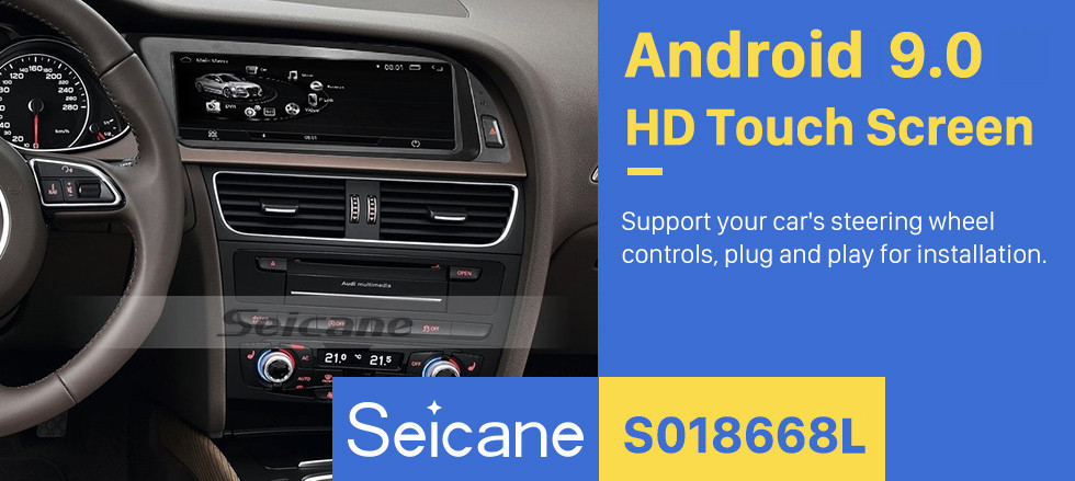 Seicane 8.8 inch for 2009 2010 2011-2016 Audi Q5 Radio Android 9.0 GPS Navigation Bluetooth HD Touchscreen support 1080P Carplay