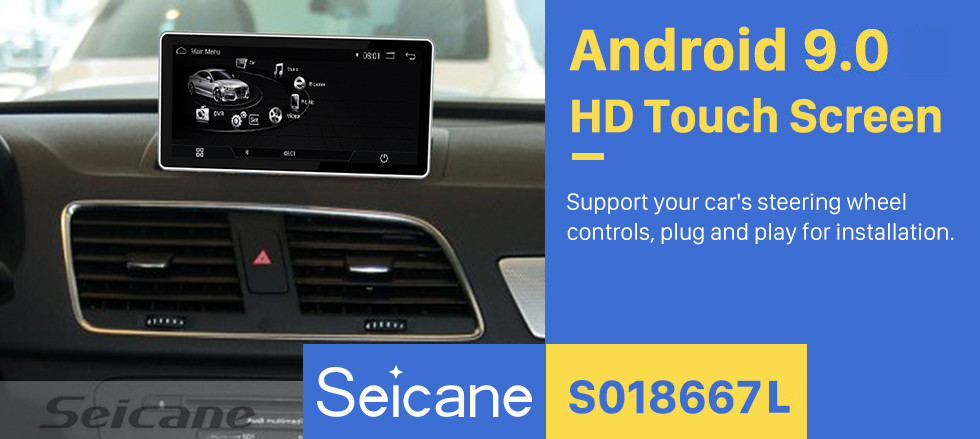 Seicane 10,25 polegadas Android 9.0 Radio for 2009 2010 2011-2015 AUDI Q3 Tela sensível ao toque Bluetooth Navegação GPS Upgrade Multimedia Player 3G WIFI Suporte USB Carplay DVR 1080P Video