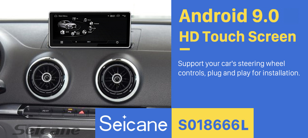 Seicane 10.25 inch Android 9.0 Radio for 2016 AUDI A3 HD Touchscreen Bluetooth GPS Navigation Upgrage Head Unit support 3G WIFI USB Mirror Link TPMS OBD DVR 1080P Video Carplay