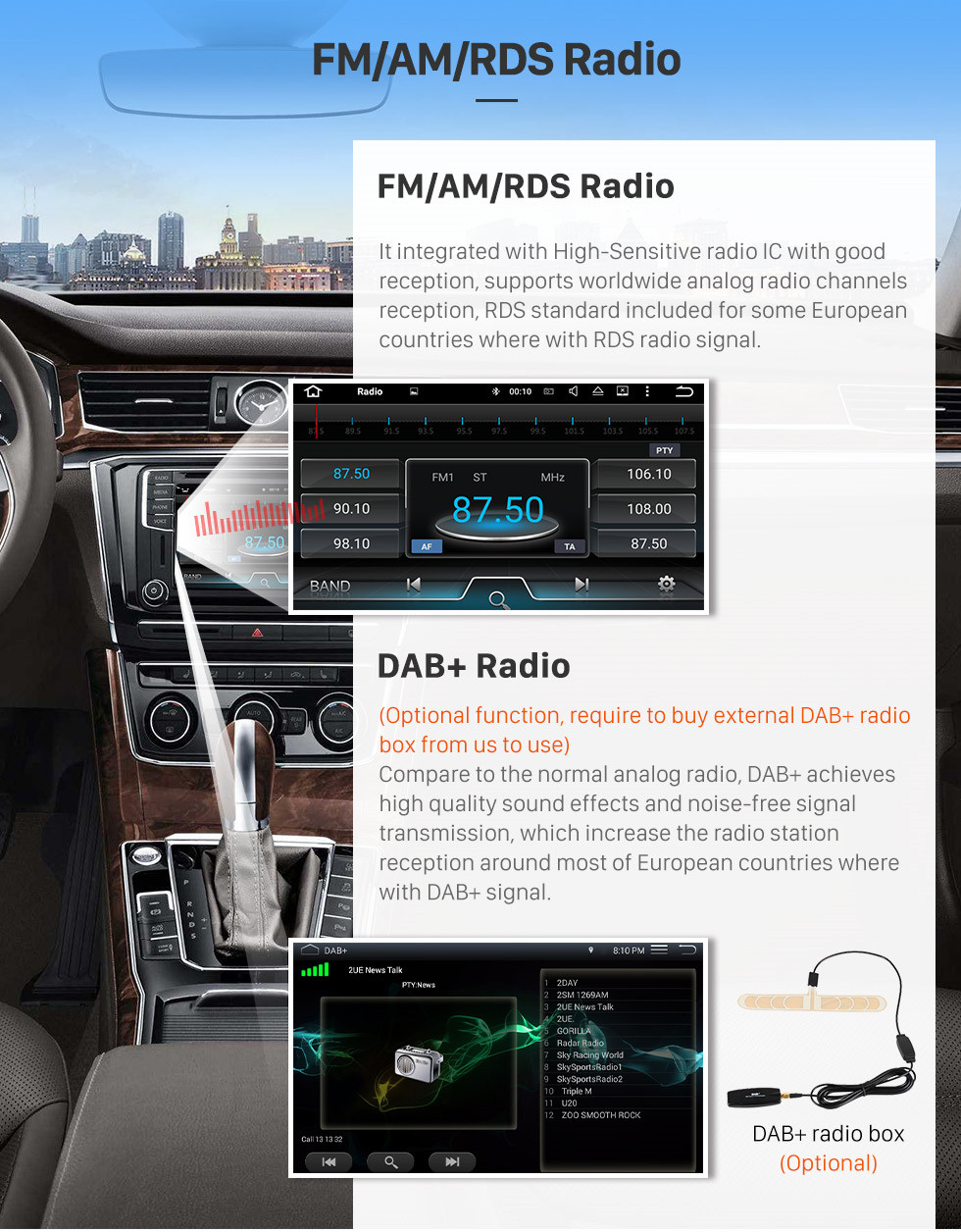 Seicane Android 9.0 Radio 8 inch GPS Navigation for 2011-2018 AUDI Q3 Head unit HD Touchscreen Video Player USB Bluetooth Carplay Steering Wheel Control WIFI 1080P Digital TV support OBD2 TPMS