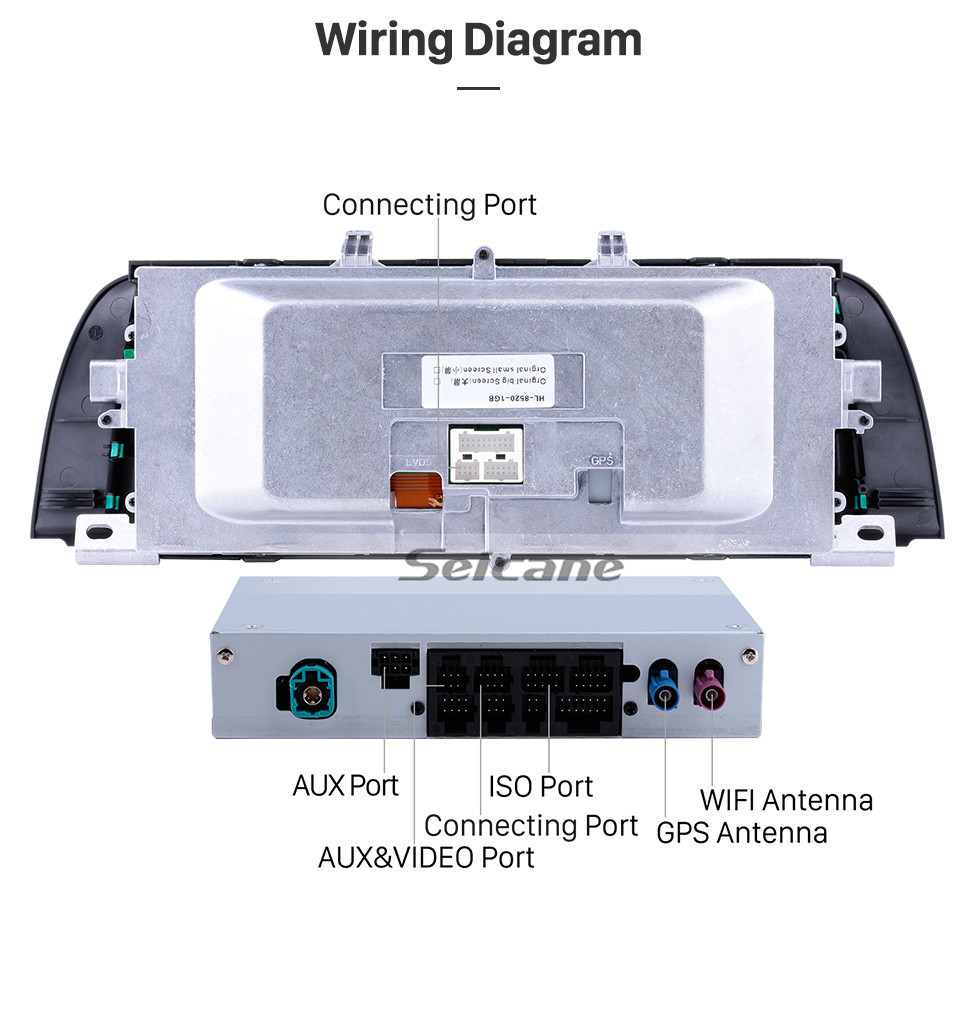 Seicane 10,25 polegadas Android 9.0 HD Touchscreen no painel de instrumentos Unidade de rádio para 2011 2012 BMW Série 5 F10 / F11 CIC Sistema de navegação GPS estéreo para carro Telefone Bluetooth Telefone MP3 Suporte a WIFI Câmera de segurança Controle de volan