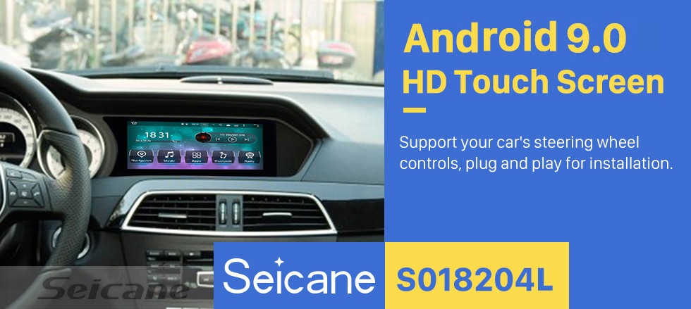 Seicane 2012 2013 Mercedes Benz C Class W204 8.8 inch Android 9.0 Radio 1280*480 Touchscreen Car Multimedia Player GPS Navigation System WIFI Bluetooth Music 1080P AUX Steering Wheel Control