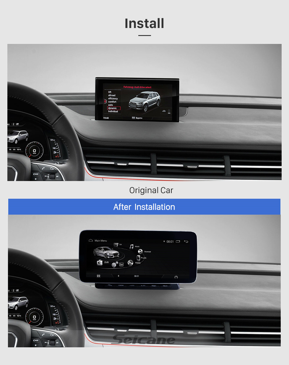 Seicane 10.25 Inch 2006-2015 AUDI Q7 Android 9.0 Car Head Unit GPS Navigation System Radio Stereo with touchscreen WIFI FM AM Bluetooth music Support Steering Wheel Control Rearview Camera USB