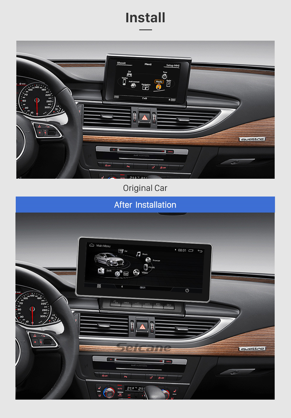 Seicane 10.25 Inch Android 9.0 Car Radio Stereo Head Unit GPS Navigation System for 2011-2015 AUDI A6 with touchscreen WIFI FM AM Bluetooth music Support USB Steering Wheel Control Rearview Camera