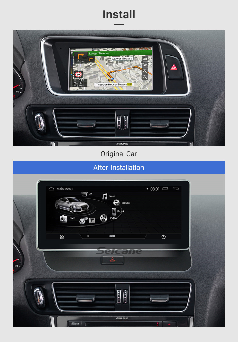 Seicane 10.25 inch 2009-2018 AUDI Q5 Left Hand Driving Car Android 9.0 Radio Touchscreen GPS Navigation auto Stereo Steering Wheel Control Bluetooth USB WIFI Carplay Rearview Camera 1080P