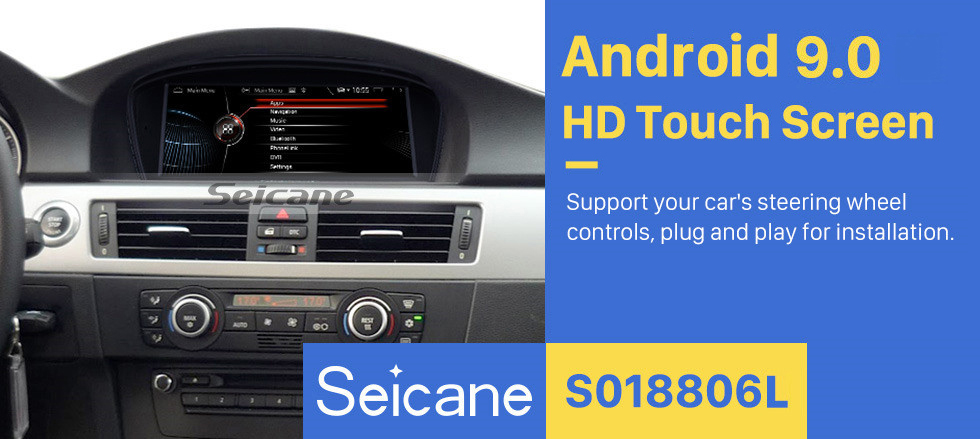 Seicane 8.8 inch for 2003 2004 2005 2006 2007 2008 BMW 5 Series/M5 E60/E61 Radio Android 9.0 GPS Navigation Bluetooth HD Touchscreen support Carplay OBD2