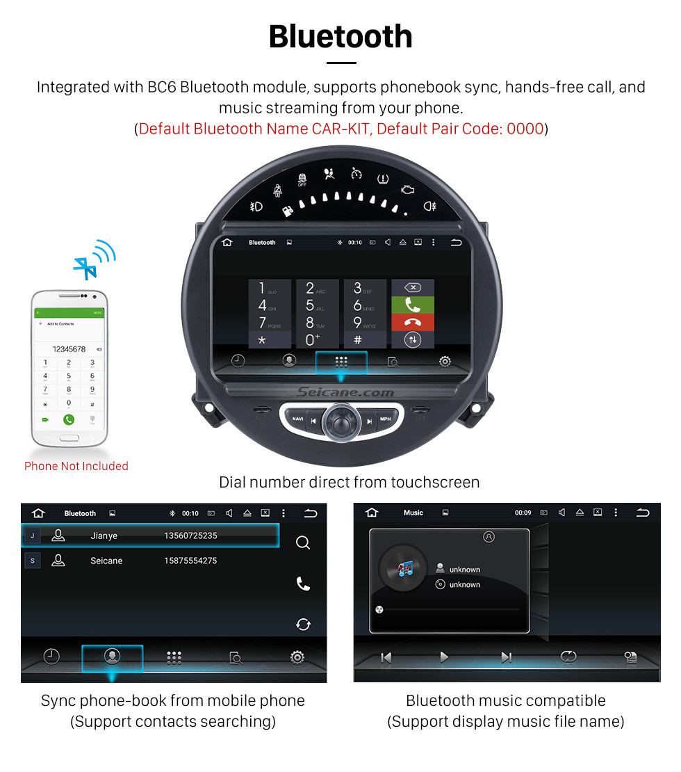 Seicane HD 1024*600 Touchscreen 2006-2013 BMW Mini Cooper with 8 inch Android 5.1.1 Autoradio GPS DVD Player Bluetooth HD 1080P Video Steering Wheel Control