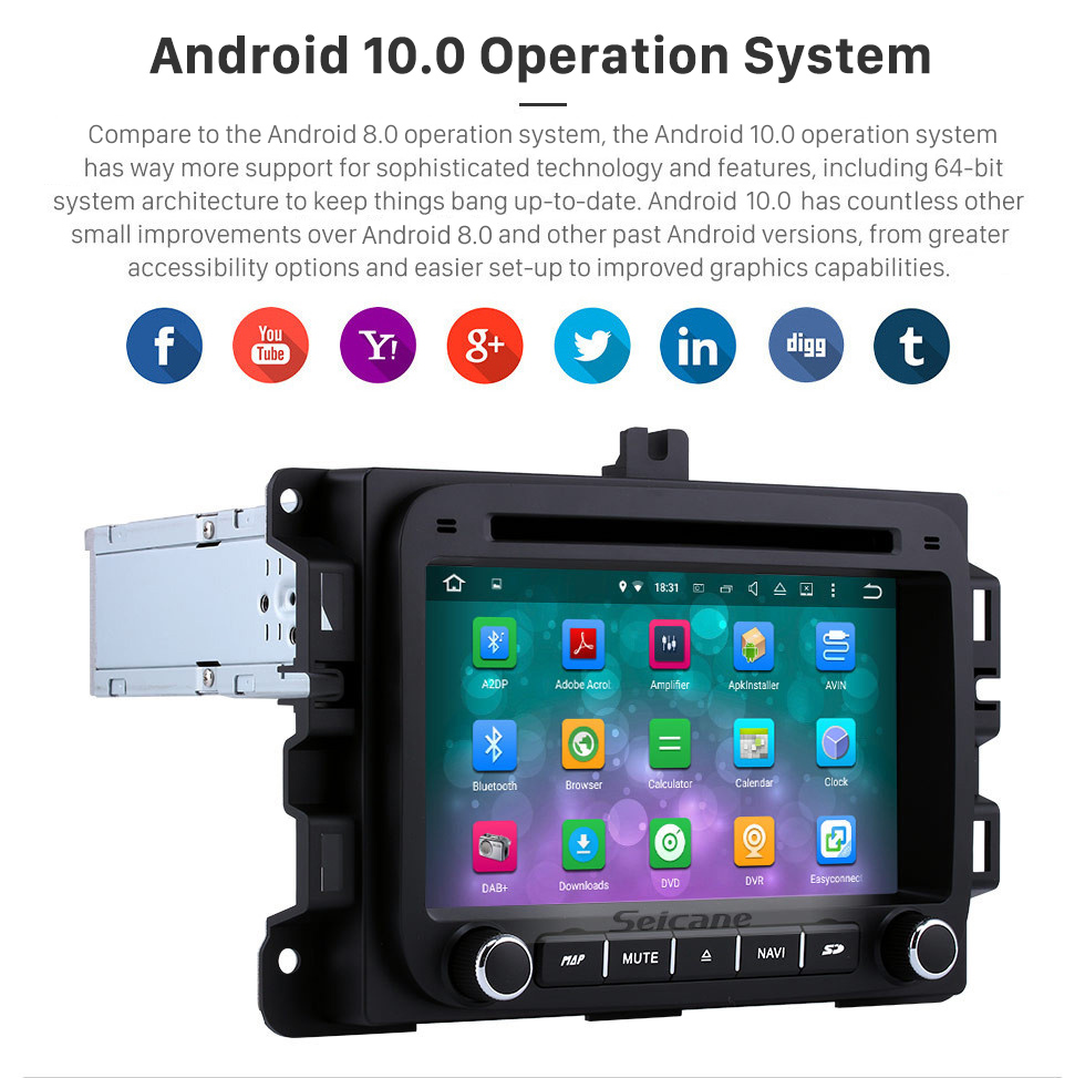 Seicane 2014 2015 2016 Jeep Renegade Android 10.0 GPS Navigation Radio with Bluetooth HD Touch Screen support Mirror link DVR Rearview Camera