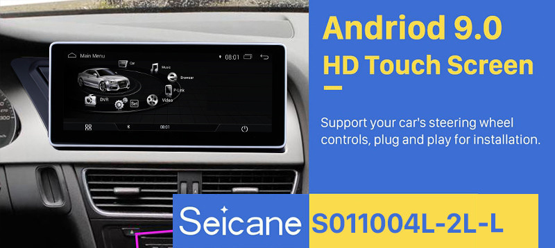 Seicane 10.25 inch Android 9.0 Car Radio Stereo for 2009-2014 AUDI A4 / Audi A5 LHD with 1280*480 touchscreen Bluetooth Support Head Unit GPS Navigation System