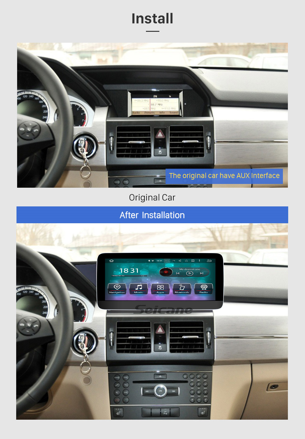 Seicane 10.25 inch Android 10.0 Car Stereo for Mercedes Benz GLK Class X204 GLK200 GLK250 2008-2015 Touchscreen Radio Bluetooth WIFI GPS Navigation 1080P Video Player SWC support DVR Rearview Camera
