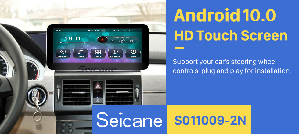 Seicane 10.25 inch Android 10.0 Touchscreen Radio for Mercedes Benz GLK Class X204 GLK200 GLK250 2008-2015 Car Stereo GPS Navigation 1080P Bluetooth WIFI SWC support Rearview Camera Carplay