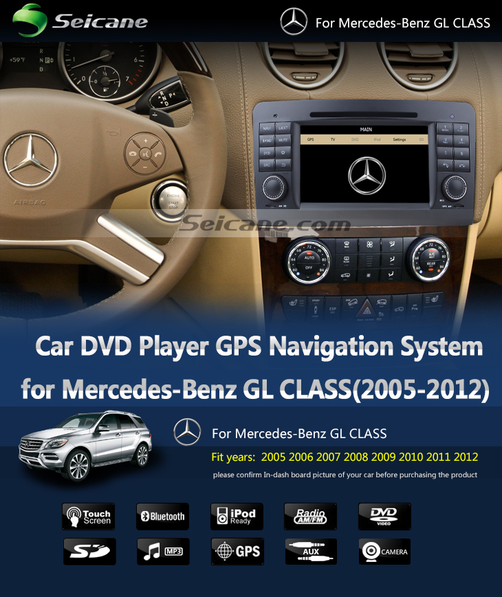Seicane  Car dvd player for Benz GL CLASS with GPS Radio TV Bluetooth