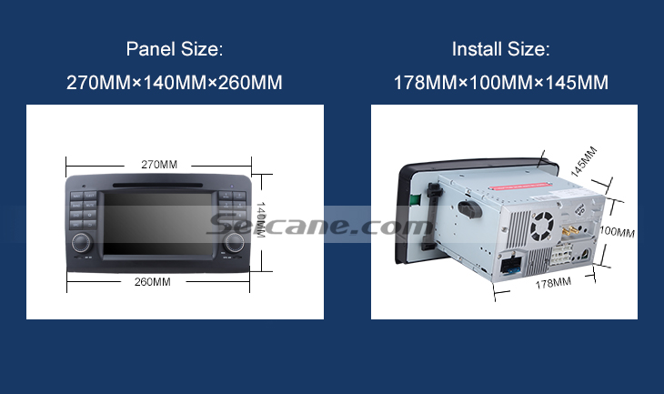 Panel Install Size Car dvd player for Benz GL CLASS with GPS Radio TV Bluetooth