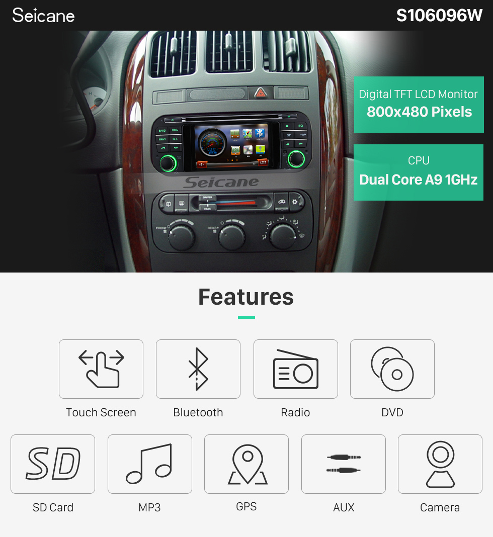 Seicane 1999 2000 2001-2004 Jeep Grand Cherokee unidade principal Auto A / V DVD Rádio GPS Navegação Bluetooth Música Sintonizador de TV Controle de volante Zona dual IPOD AUX