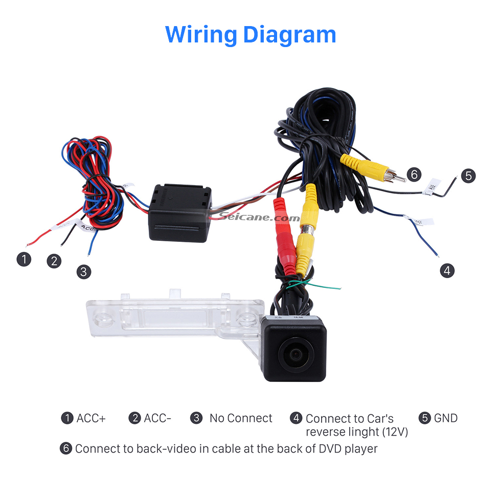 Wiring Diagram HD Wired Car Parking Backup Camera for 2008-2011 VW Volkswagen SAGITAR Waterproof Blue Ruler Night Vision free shipping