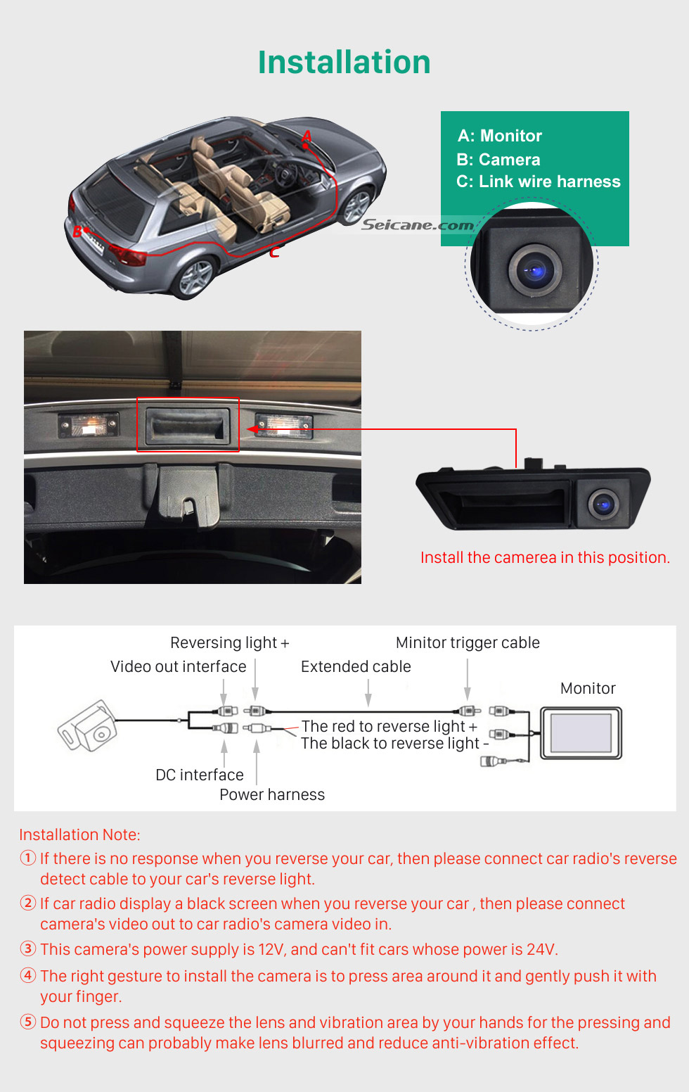 Installation HD Wired Car Parking Backup Reversing Camera for 2011-2013 VW Volkswagen Touareg 2012-2013 Sharan Waterproof four-color ruler and LR logo Night Vision free shipping