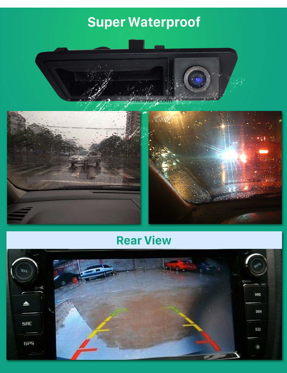 Super Waterproof HD Wired Car Parking Backup Reversing Camera for 2011-2013 VW Volkswagen Touareg 2012-2013 Sharan Waterproof four-color ruler and LR logo Night Vision free shipping
