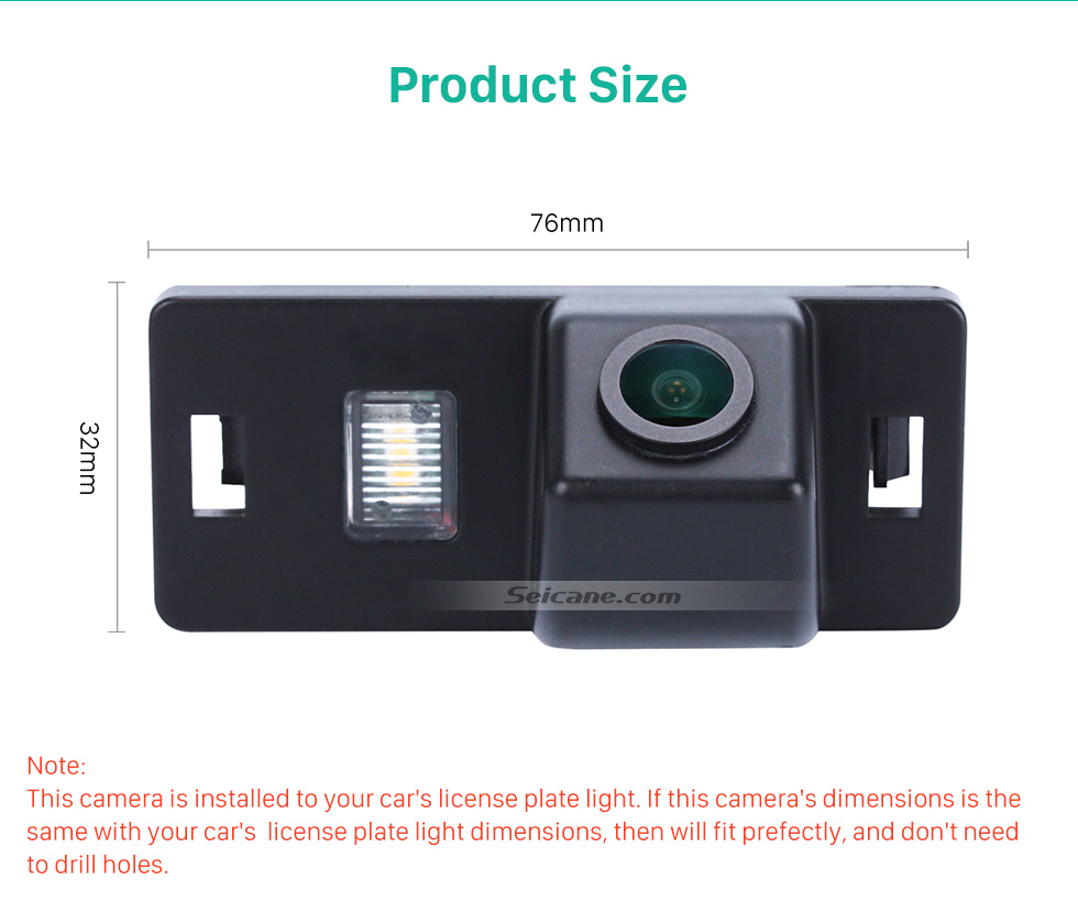 Product Size HD Wired Car Parking Backup Reversing Camera for 2008-2013 Audi TT Waterproof Blue Ruler Night Vision free shipping