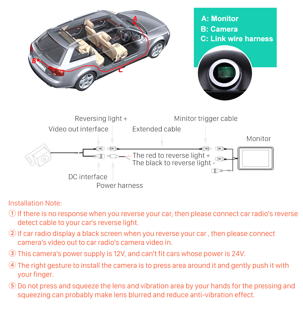 Seicane 170° HD À prova d'água azul governante Visão noturna Carro Retrovisor Câmera para 2007-2011 Audi A6L Frete grátis