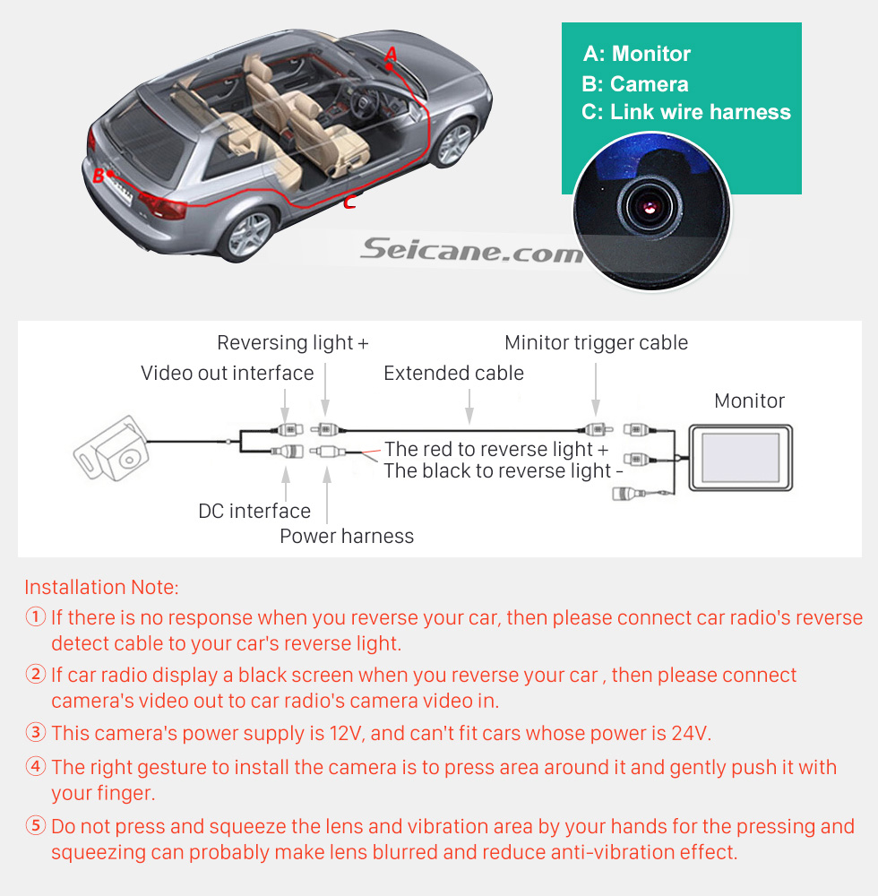 Seicane HD Car Rearview Camera for 2009-2012 Mercedes-Benz GLK free shipping