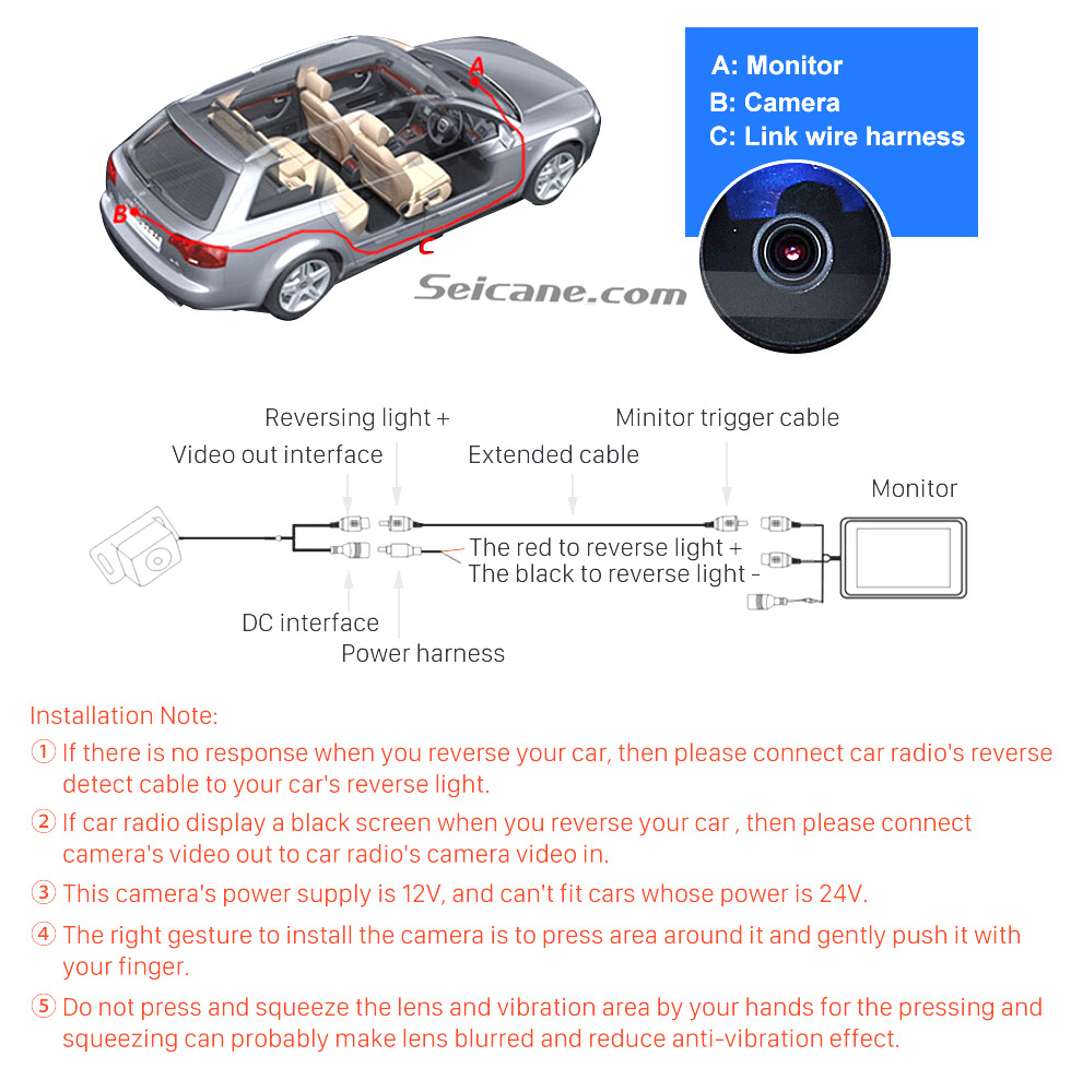 Installation HD 600 TV Lines Wired Car Parking Backup Reversing Camera for 2009-2012 Mercedes-Benz GLK Night Vision Waterproof free shipping