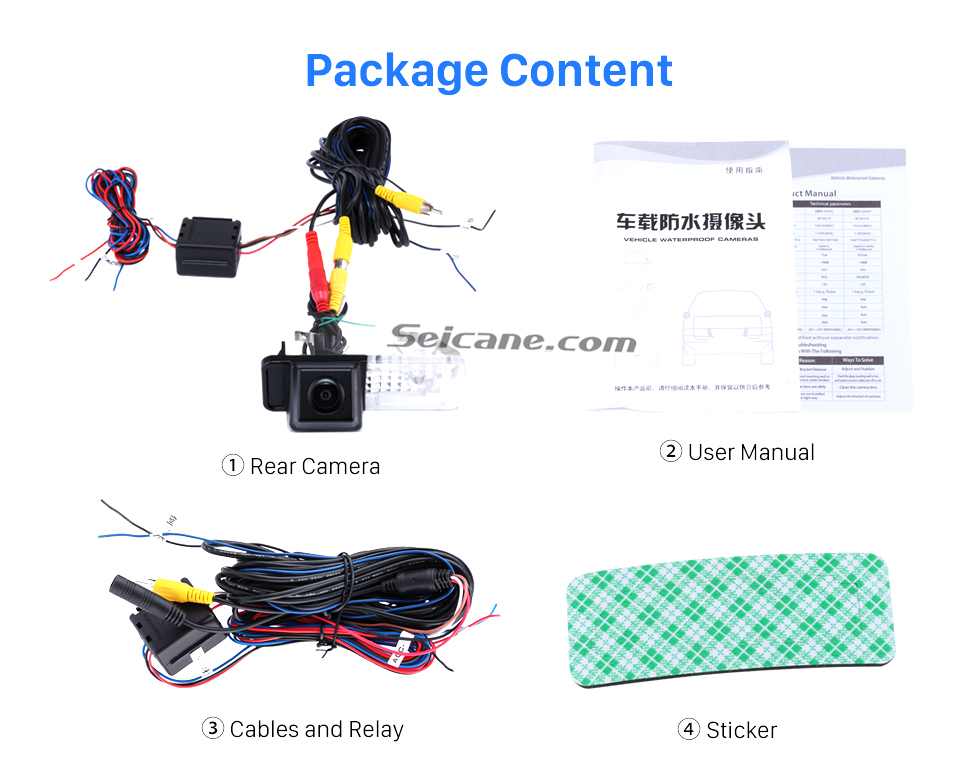 Package Content HD SONY CCD 600 TV Lines Wired Car Parking Backup Reversing Camera for 2008-2013 Mercedes-Benz SMART Waterproof Night Vision free shipping