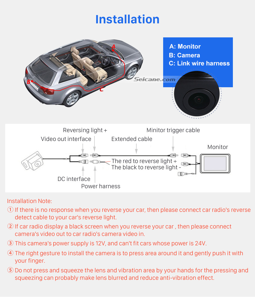 Installation HD 600 TV Lines Wired Car Parking Backup Reversing Camera for BMW 3  Waterproof Night Vision free shipping