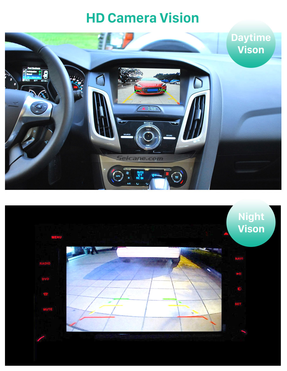 HD Camera Vision HD Wired Car Parking Backup Reversing Camera for 2012-2013 NEW Ford Focus two boxes three boxes Waterproof four-color ruler and LR logo Night Vision free shipping