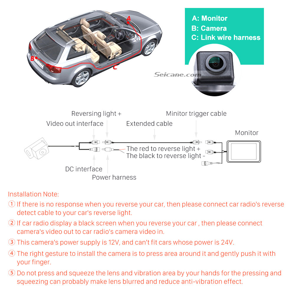 Seicane HD Wired Car Parking Backup Reversing Camera for 2012-2013 NEW Ford Focus two boxes three boxes Waterproof four-color ruler and LR logo Night Vision free shipping