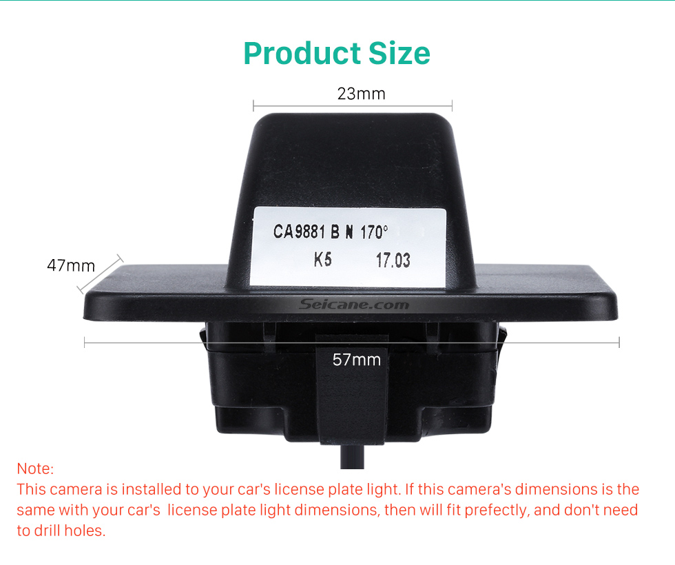 Product Size HD Wired Car Parking Backup Reversing Camera for KIA K5 Waterproof four-color ruler and LR logo Night Vision free shipping