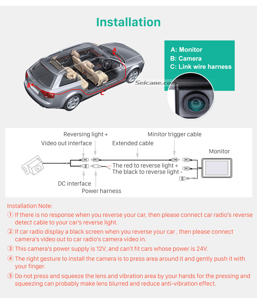 Installation HD Wired Car Parking Backup Reversing Camera for KIA K5 Waterproof four-color ruler and LR logo Night Vision free shipping