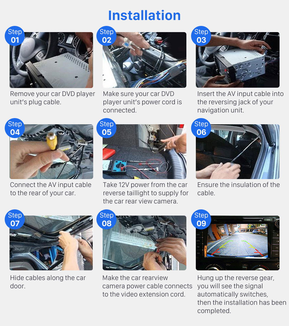 Installation HD SONY CCD 600 TV Lines Wired Car Parking Backup Reversing Camera for KIA K5 version Waterproof Night Vision free shipping