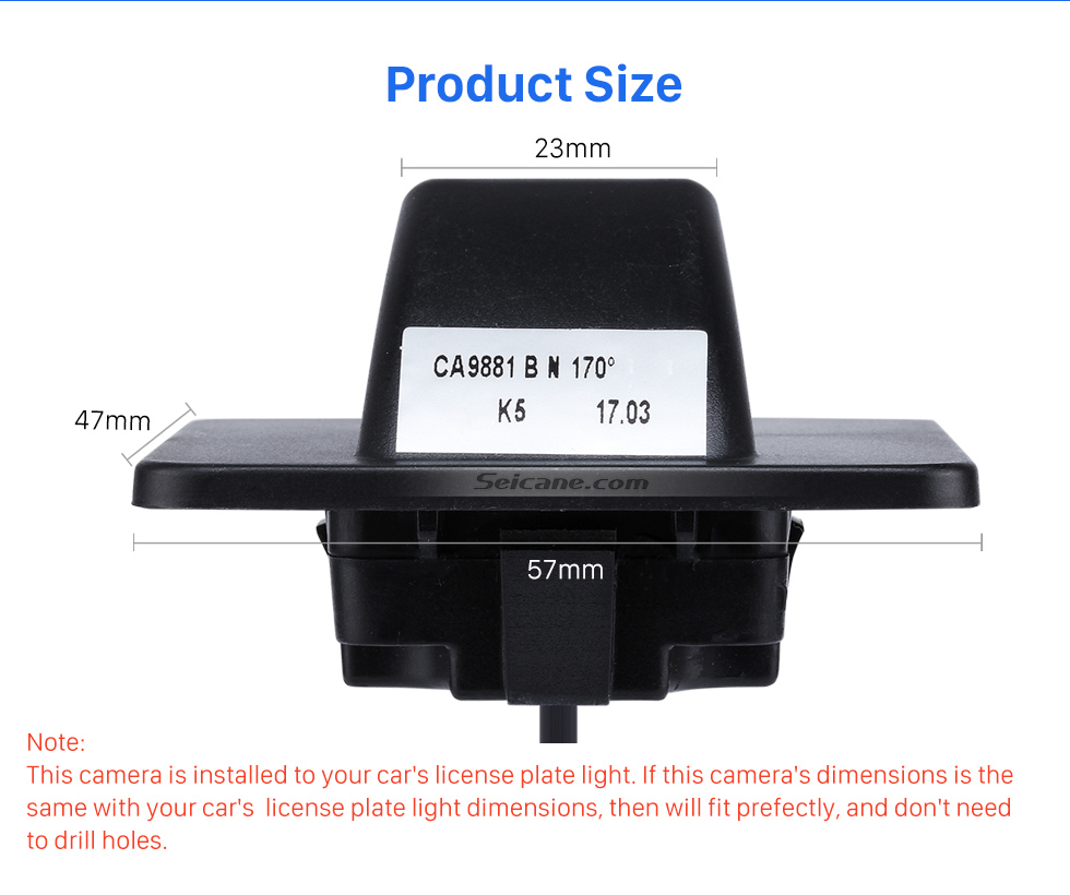 Product Size HD SONY CCD 600 TV Lines Wired Car Parking Backup Reversing Camera for KIA K5 version Waterproof Night Vision free shipping