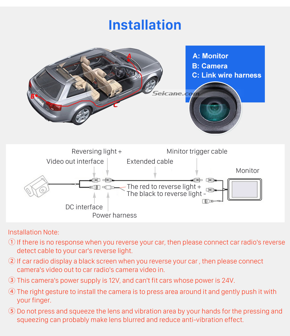 installation hd sony ccd 600 tv lines wired car parking backup  reversing camera for kia k5