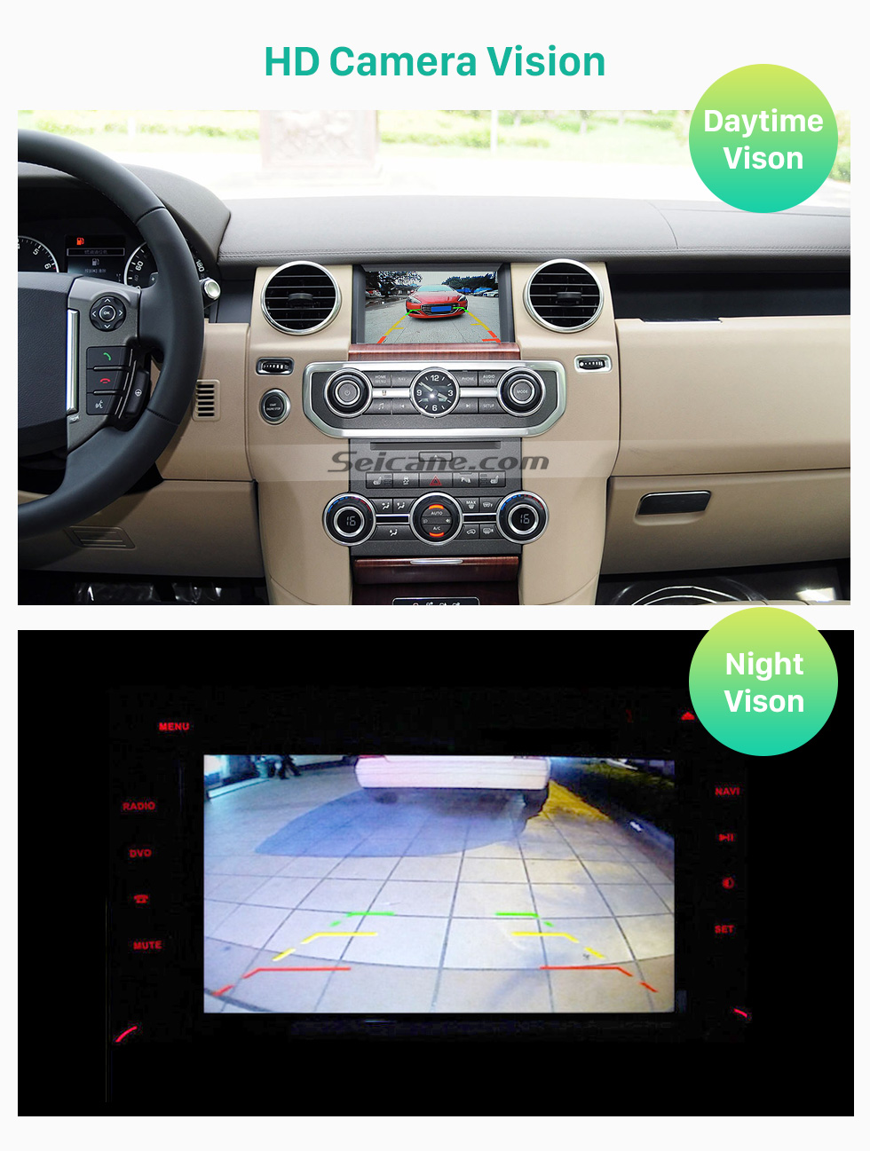 Seicane Hot selling 2012 2013 Land Rover Discovery 4 Car Rearview Camera with four-color ruler and LR logo Night Vision free shipping