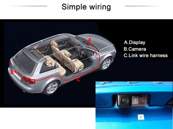 Digital TV HD Wired Car Parking Backup Reversing Camera for 2012-2013 Citroen C4L Waterproof four-color ruler and LR logo Night Vision free shipping