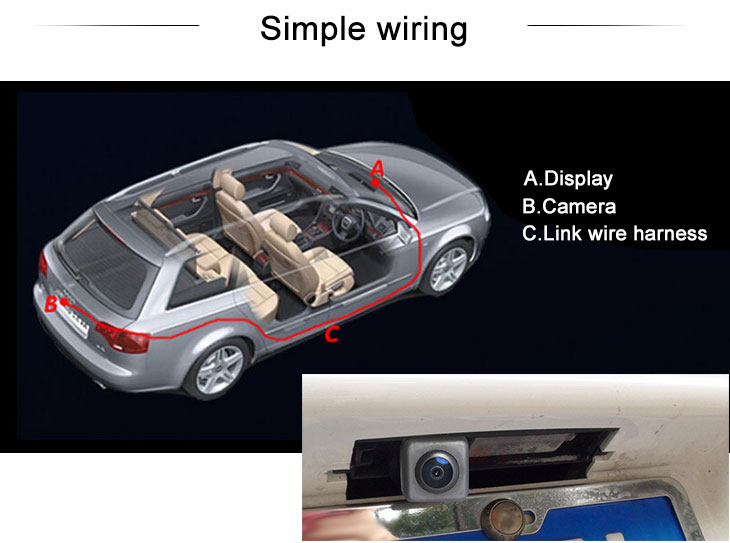 Digital TV HD Wired Car Parking Backup Reversing Camera for 2011-2013 NEW Mercedes-Benz C Waterproof four-color ruler and LR logo Night Vision free shipping