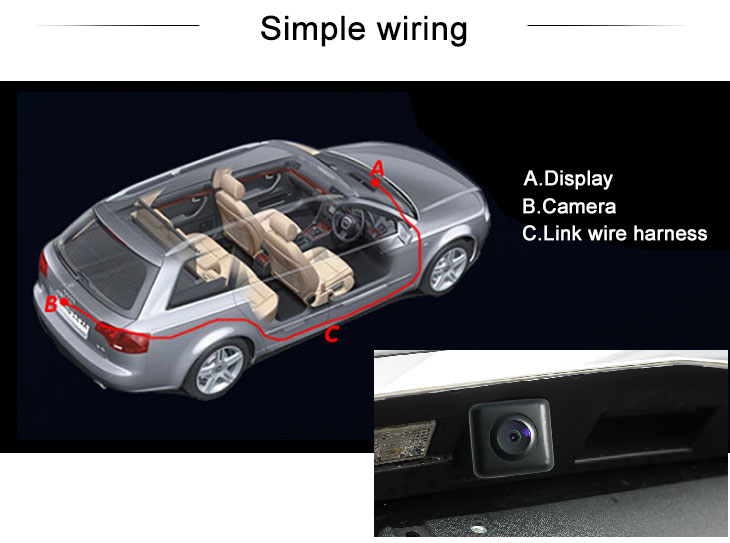 Digital TV HD 600 TV Lines Wired Car Parking Backup Reversing Camera for 2008-2010 Mercedes-Benz E、C Night Vision Waterproof free shipping