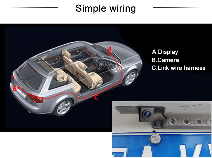 Digital TV HD Wired Car Parking Backup Reversing Camera for 2008 Ford Focus two boxes 2008-2011 Focus (three boxes) Waterproof Blue Ruler Night Vision free shipping
