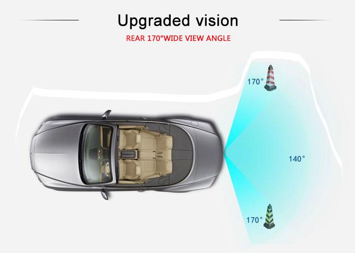 Aftermarket radio 170° HD à prova d'água azul régua Visão noturna Carro Retrovisor Câmera para 2007-2013 Nissan LIVINA Geniss 307Z 2009 Tiida Frete grátis
