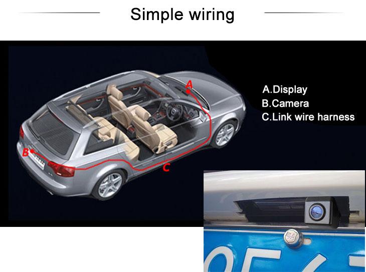 Digital TV HD Wired Car Parking Backup Reversing Camera for 2008-2013 KIA CERATOWaterproof Blue Ruler Night Vision free shipping
