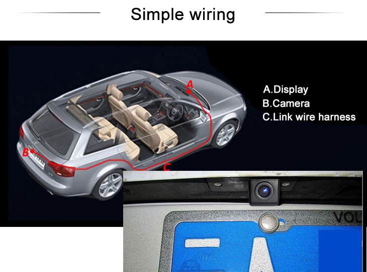 Digital TV 170° HD Waterproof Blue Ruler Night Vision Car Rearview Camera for 2008-2013 VW Volkswagen POLO three boxes free shipping