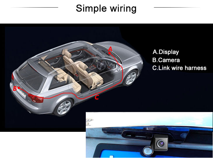 Digital TV HD Wired Car Parking Backup Reversing Camera for Hyundai MOINCA 2008 Sonata Waterproof Blue Ruler Night Vision free shipping