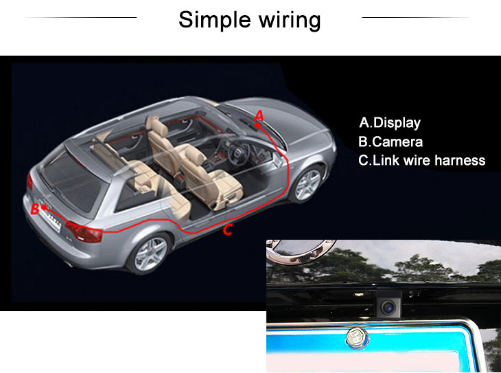 Digital TV 170° HD Waterproof Blue Ruler Night Vision Car Rearview Camera for 2010 2011 Audi A4L Q5 free shipping