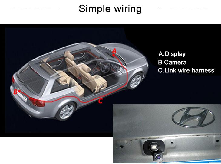 Digital TV HD Wired Car Parking Backup Reversing Camera for Hyundai VERNA three boxes Waterproof Blue Ruler Night Vision free shipping