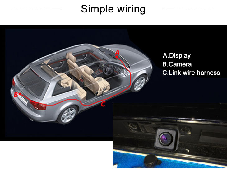 Digital TV HD Wired Car Parking Backup Reversing Camera for EDGE Waterproof Blue Ruler Night Vision free shipping